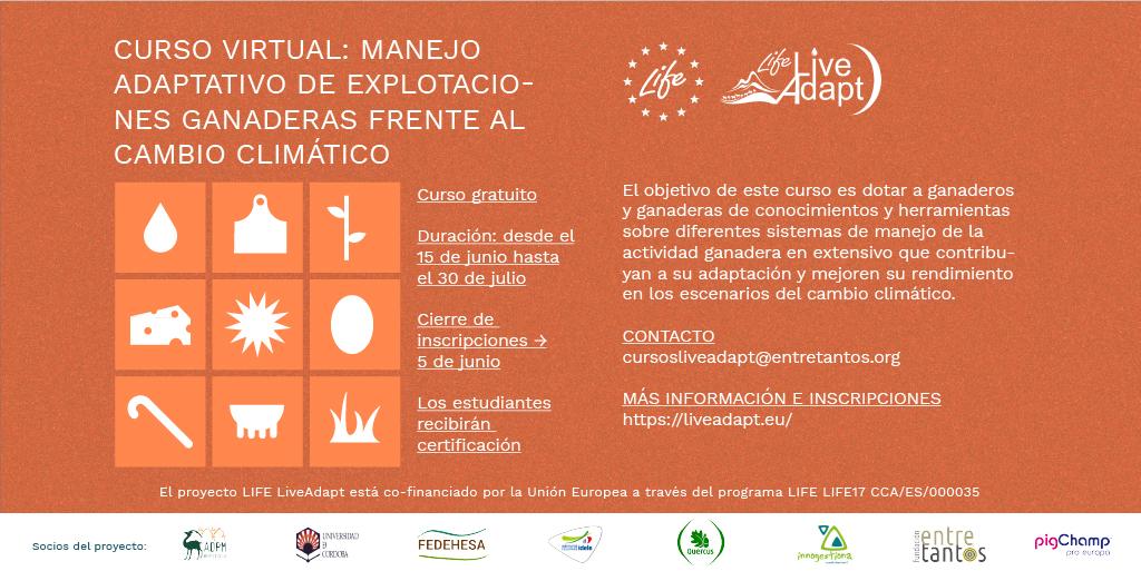 Continúa la formación LiveAdapt sobre ganadería extensiva: abierta la inscripción del  Curso 2 sobre adaptación del pastoreo al cambio climático